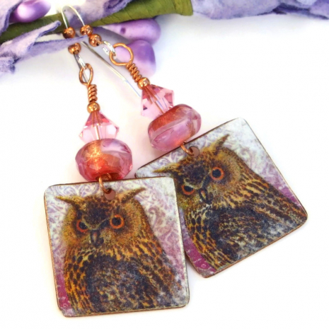 handmade owl earrings with pink czech glass and swarovski crystals