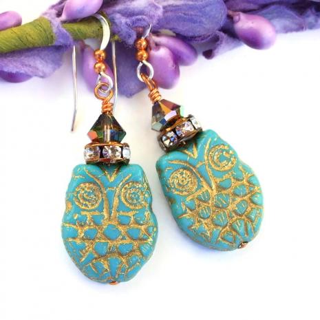 handmade owl earrings with swarovski crystals