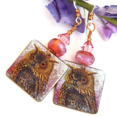 handmade owl jewelry with pink czech glass and swarovski crystals