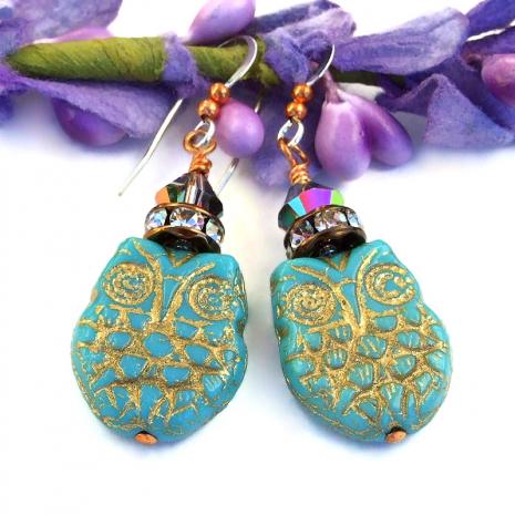 handmade owl jewelry with Swarovski crystals