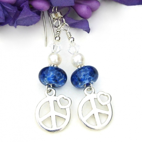 handmade peace sign and hearts earrings for women