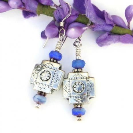 handmade pewter cross earrings