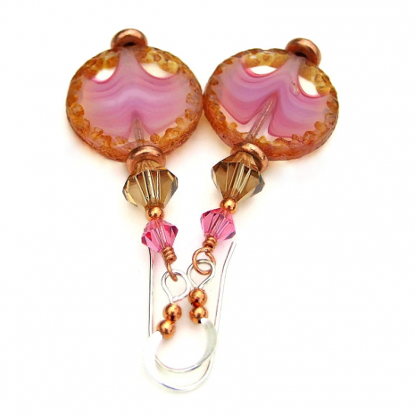 handmade pink clear brown dangle jewelry
