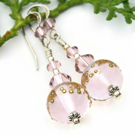 handmade pink lampwork earrings with fine silver dots