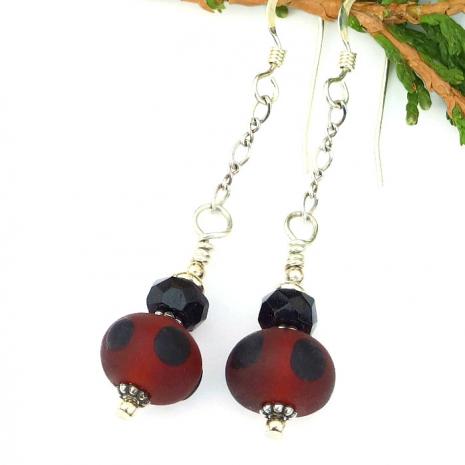 matte red and black lampwork earrings gift for women