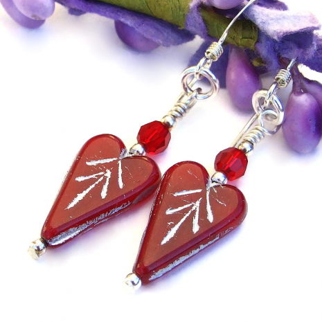 handmade red hearts valentines earrings with swarovski crystals