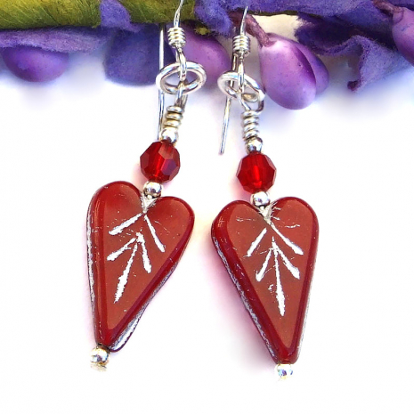 handmade red hearts valentines jewelry with swarovski crystals