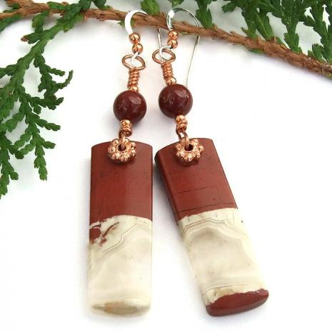 red river jasper gemstone and copper earrings for women