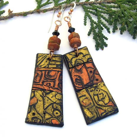 handmade rustic copper and gold jewelry gift for her