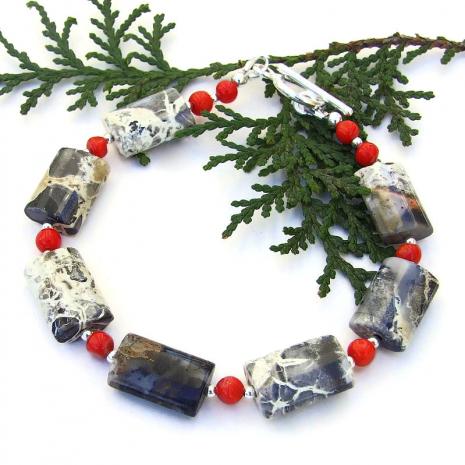 handmade silver leaf jasper red coral bracelet gift for women