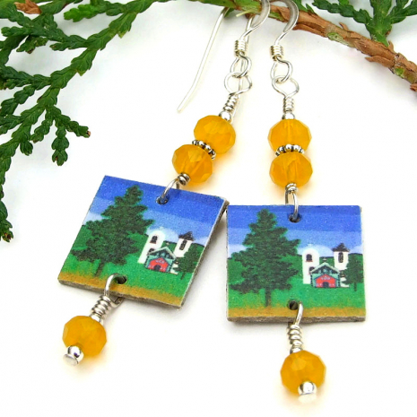 handmade southwest church and trees jewelry with yellow czech glass