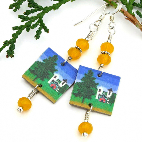 handmade southwest church earrings jewelry gift for women