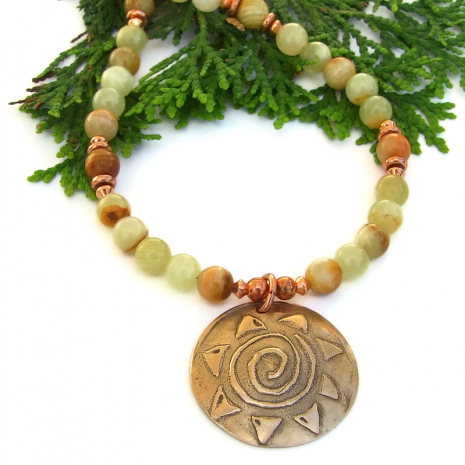 handmade spiral sun pendant necklace with striped honey onyx