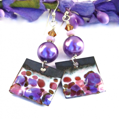 handmade spotted purple and pink enamel jewelry