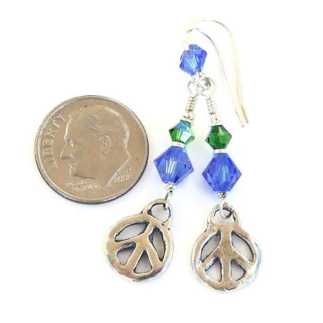 handmade sterling silver peace sign earrings gift for her