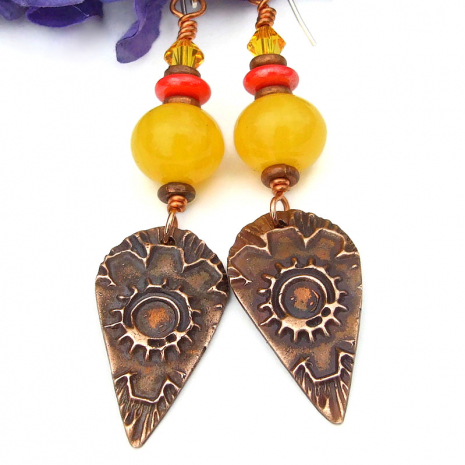 handmade sun flower autumn fall earrings copper copal crystals