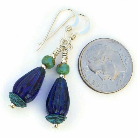 handmade teardrop earrings cobalt blue turquoise