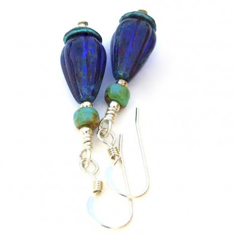 handmade teardrop jewelry cobalt blue turquoise