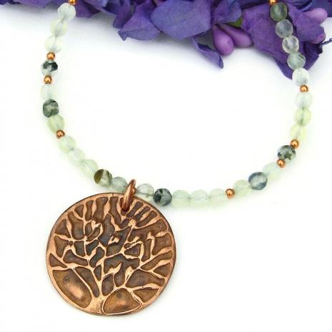 handmade tree of life pendant jewelry prehnite copper