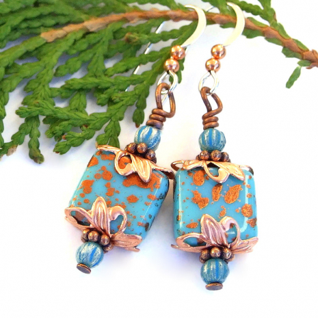 handmade turquoise glass earrings for women