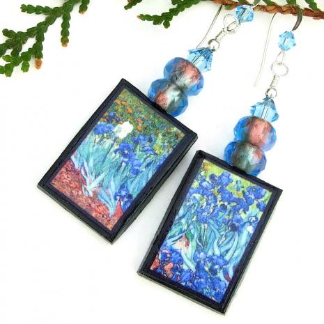 handmade van gogh's irises art jewelry