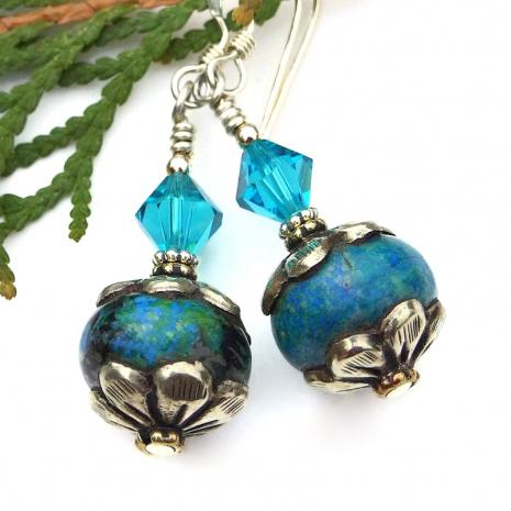 handmade vintage tibetan bead earrings with Swarovski crystals