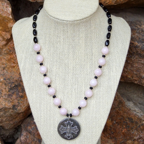 bless this woman virgin mary and cross necklace with gemstones