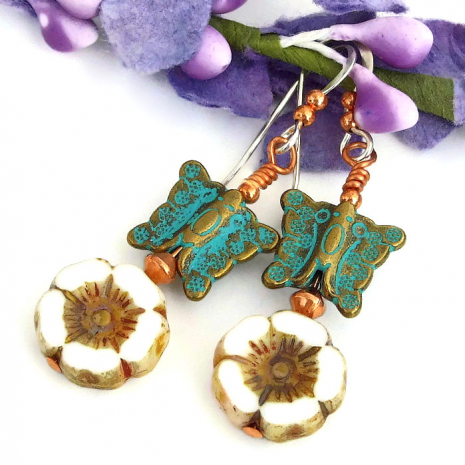 turquoise Mykonos butterfly jewelry with Czech glass flowers