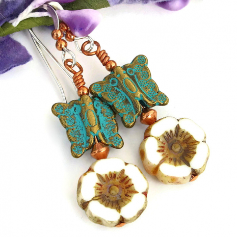 flower and butterfly earrings easter gift
