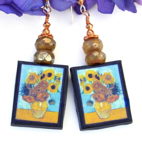 handmade yellow sunflowers vincent van gogh earrings