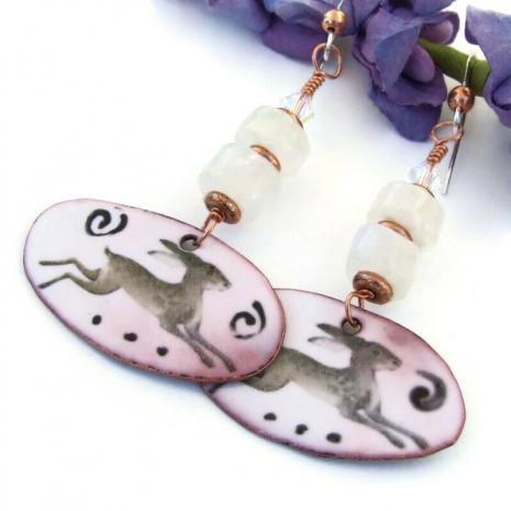 hare rabbit spirals enamel jewelry moonstone swarovski crystals