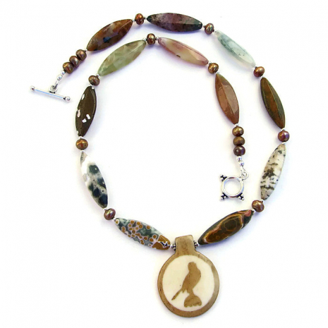 falcon bird pendant necklace jasper pearls handmade