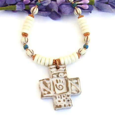 Handmade cross necklace for women.
