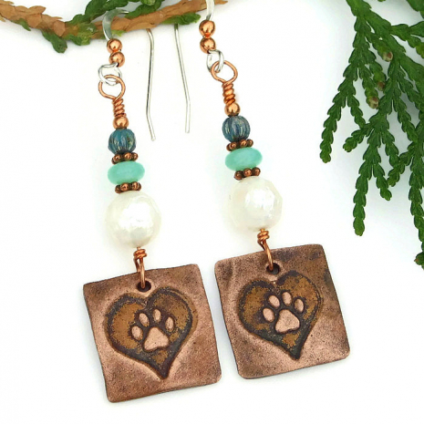 copper heart and paw print dog lover earrings