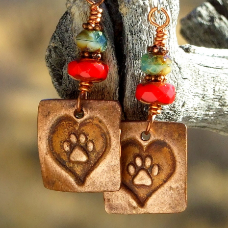 heart dog paw print earrings gift for her