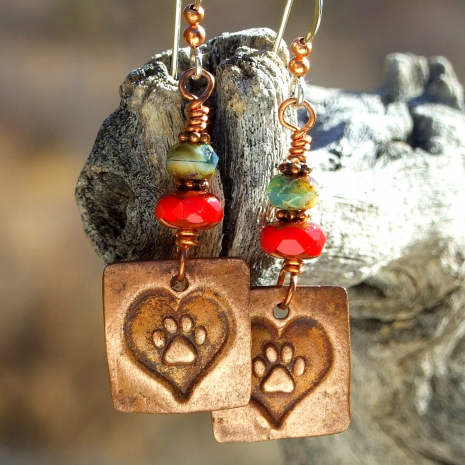 heart dog paw print jewelry gift for her