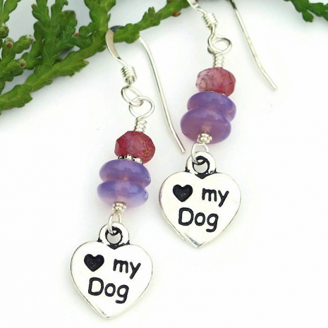 dog earrings with lavender purple and pink Czech glass