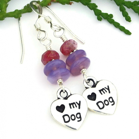 dog jewelry with lavender purple and pink Czech glass