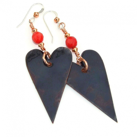 hearts earrings - black back