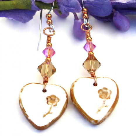 heart earrings with flowers and Swarovski crystals