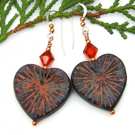 heart earrings with starburst design picasso finish