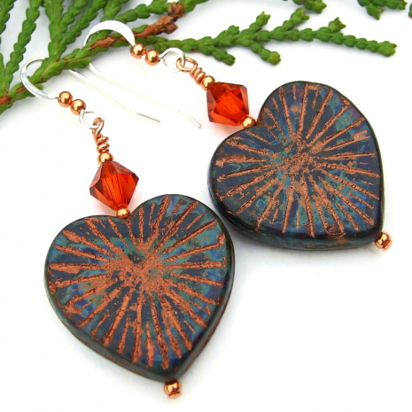 heart jewelry with starburst design picasso finish