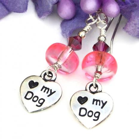 heart love my dog dangle earrings for women