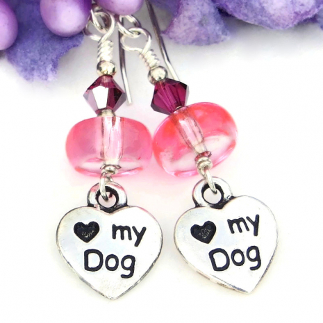 heart love my dog dangle jewelry for women