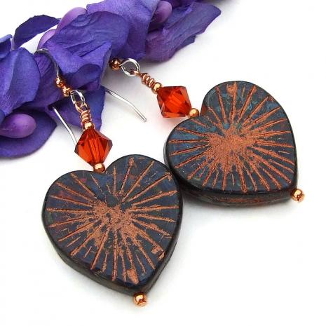heart lover czech glass jewelry swarovski crystals