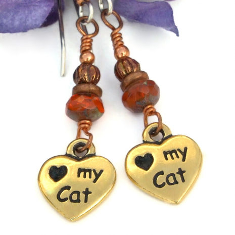 heart my cat paw prints cat lover earrings