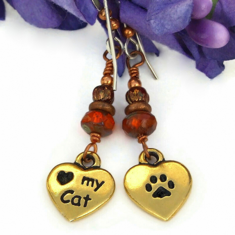 heart my cat paw prints cat lover jewelry