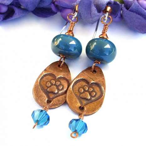Heart and paw print dog rescue earrings
