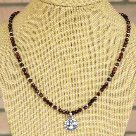 heart on cross christian necklace red garnet sterling silver