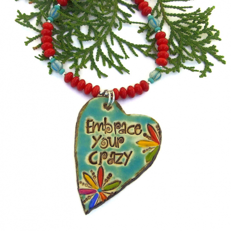 heart shaped embrace your crazy pendant jewelry gift for her